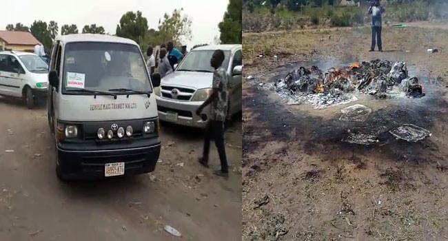 Photos:  Thugs set electoral materials ablaze in Benue
