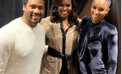 Ciara and her husband Russell Wilson pictured with Michelle Obama (Photo)