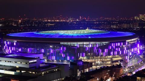 View of Tottenham Hotspur Stadium on opening night