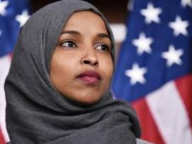 Congresswoman Ilhan Omar in front of US flag (file photo)