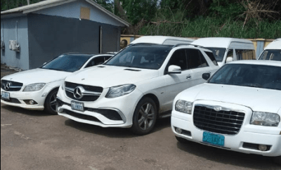 Photos: See the cars recovered from suspected internet fraudsters arrested by EFCC operatives in Delta
