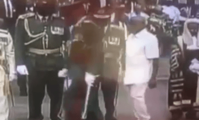 Watch the moment Adam Oshiomole was chased away by security for breaching protocol at Presidential inauguration in Abuja (Video)