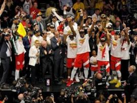 The Toronto Raptors celebrate their NBA finals success over the Golden State Warriors