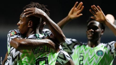 Shanghai Greenland Shenhua Odion Ighalo celebrates after scoring for Nigeria against Burundi