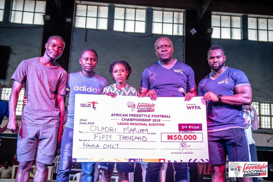 Winner at 2019 Nigerian Freestyle Football Championship Lagos Auditions alongside Judges