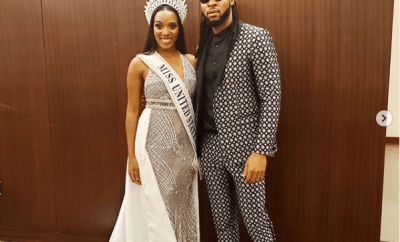Social media users leave hilarious comments as Flavour shares photo of himself with newly crowned Miss USA, Cheslie Kryst (Screenshots)