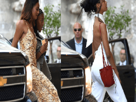 Malia and Sasha Obama join dad Barack for a Father