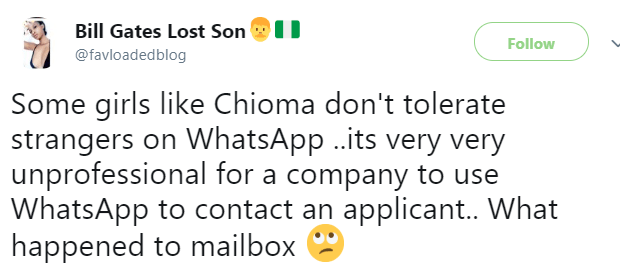 Twitter users divided over trending Whatsapp conversation between a lady and her prospective employee
