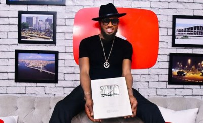 Dbanj receives Silver plaque from YouTube after hitting 100,000 subscribers (Photos)