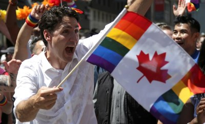 Canada Prime Minister champions equality as he proudly flies the LGBTQ2 flag at Toronto pride parade