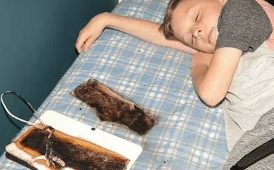 Tablet burns through bed at night inches away from the face of an 11-year-old boy