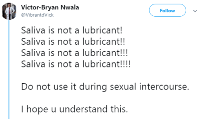Nigerian doctor warns against using saliva as lubricant during sex