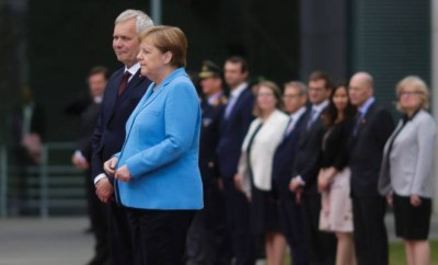 German Chancellor Angela Merkel seen shaking for the 3rd time in a month as she stands alongside Finland