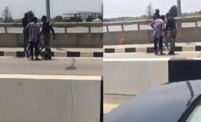 Lady confronts policemen harassing bicycle rider in Lekki-Ikoyi Link Bridge (video)
