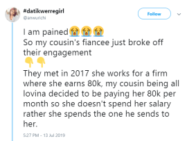 Lady calls out cousin
