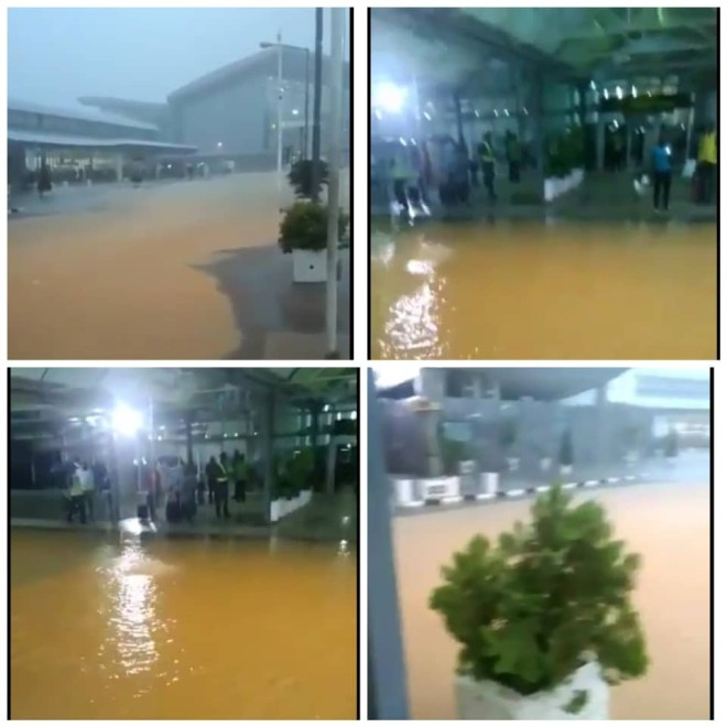 Video: Nnamdi Azikiwe International Airport flooded after heavy downpour