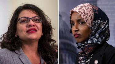 Congresswomen Rashida Tlaib (left) and Ilhan Omar