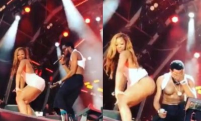 Lady flashes her panties while twerking up a storm for D