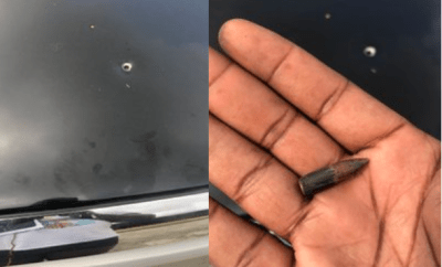 Man escapes death after stray bullet hit his car