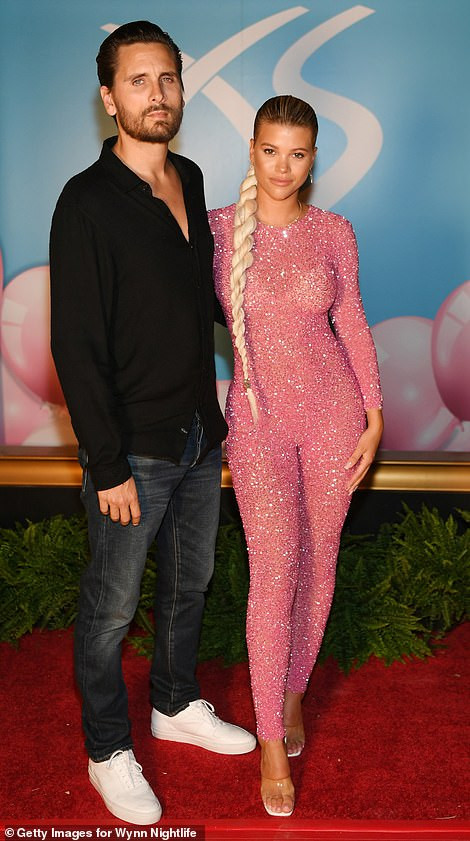 Sofia Richie rocks bedazzled pink catsuit as she celebrates 21st birthday party with boyfriend Scott Disick, 36, in Las Vegas (Photos)