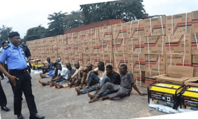 Police arrest 10 for stealing 410 generators and 560 gallons of engine oil