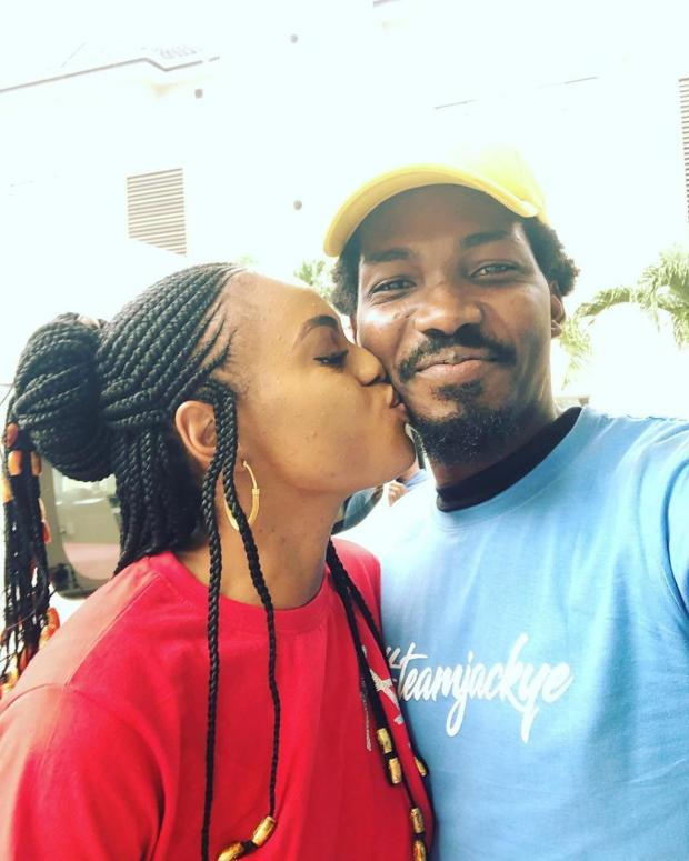 Ex-BBNaija housemate, Jackye shares a kiss with her boyfriend to wish him a