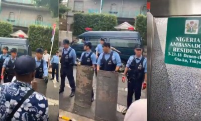 Video: IPOB members storm Nigerian Ambassador?s residence with Japanese Police to