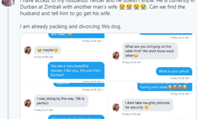 Woman exposes chat between her husband who told her he was travelling on business and the married woman he went to meet