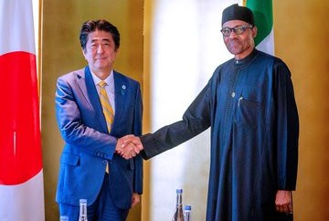Photos: President Buhari in bilateral meeting with Japanese prime minister,  Shinzo Abe
