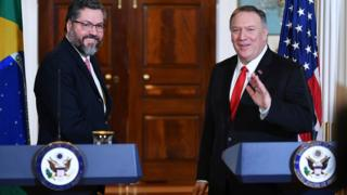 Brazilian foreign minister Ernesto Araujo and Mike Pompeo