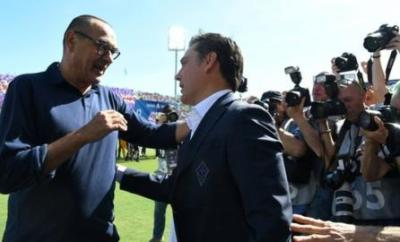 Juventus manager Maurizio Sarri on the touchline at Fiorentina