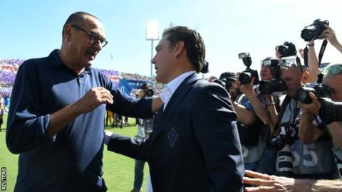 Juventus manager Maurizio Sarri on the touchline at Fiorentina