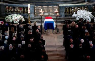 Mourners attend funeral service of late French president Jacques Chirac on 30 September 2019.