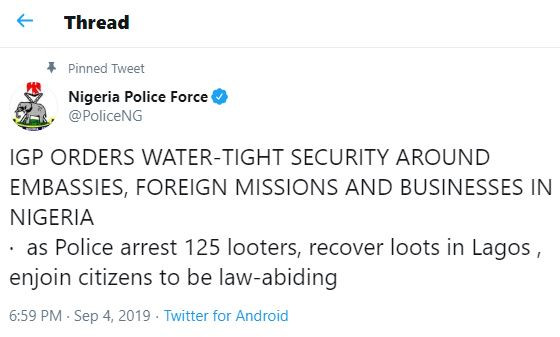 Xenophobia: 125 looters?arrested by Lagos police command in connection with destruction of properties owned by South Africans