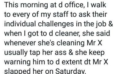 Boss receives praise after revealing what he did when the cleaner at his office complained of sexual assault