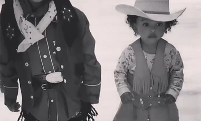 Kim Kardashian shows off Saint and Chicago West dressed in cowboy outfits (video)