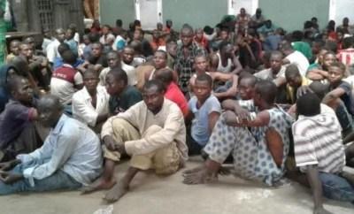 Lagos State Task Force arrest?71 suspected miscreants?in Oshodi (Photo)
