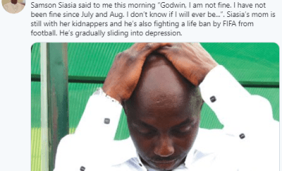 Samson Siasia is gradually sliding into depression, he needs help very fast- sports journalist Godwin Enakhena says after speaking with him