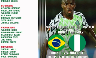 Full List:?NFF releases Super Eagles squad to?face Brazil in October