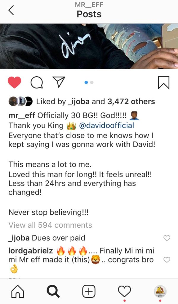 "Davido Officially Welcomes New Producer ""Mr Eff"" To His Label 12"
