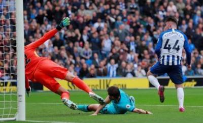 Aaron Connolly scores against Tottenham