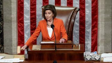 Nancy Pelosi presides over the House of Representatives as it votes on a resolution formalising the impeachment inquiry