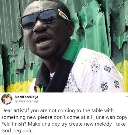Blackface writes open letter to new artistes trying to copy Fela