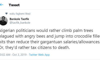 Nigerian politicians would rather tax citizens to death?than reduce their gargantuan salaries - Writer, Taofik Bankole