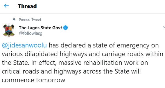 Sanwo-Olu declares state of emergency on Lagos roads