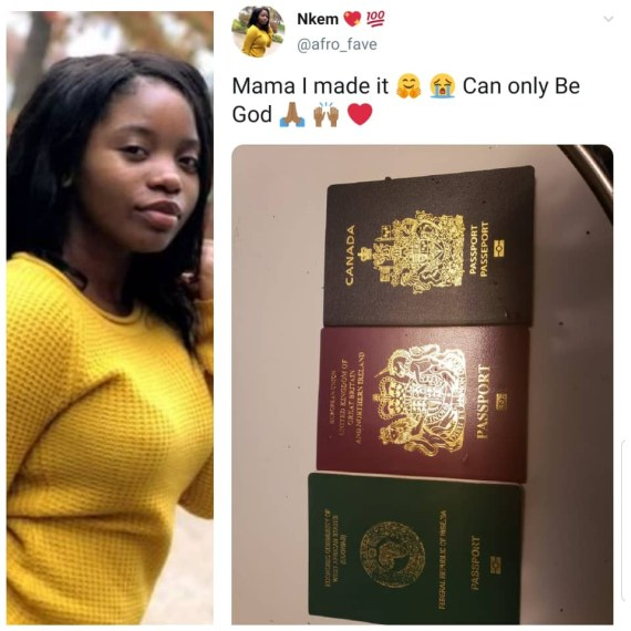 Twitter users react as Nigerian lady celebrates acquiring Canadian and UK passports