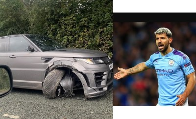 Manchester City striker Sergio Aguero involved in car crash while on the way to training (Photos)