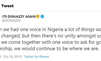 I wish we had one voice in Nigeria, a lot of things would have changed - Don Jazzy