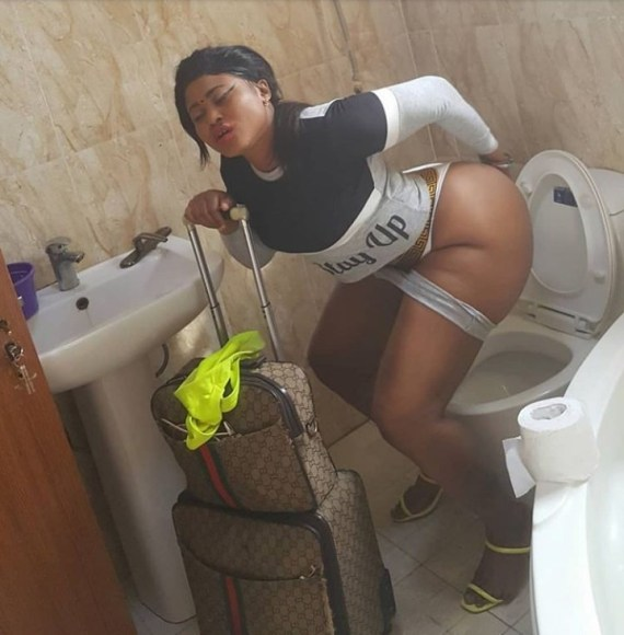 Actress Pat Ugwu joins Etinosa in taking photo of her naked butt while in the toilet