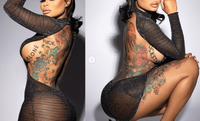 Blac Chyna showcases plenty of side boobs and bare backside in revealing dress (Photos)